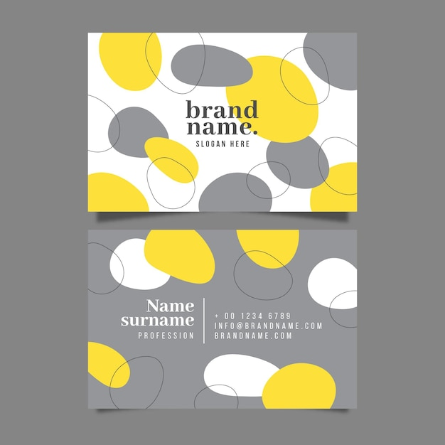 Yellow and gray organic business card template Free Vector