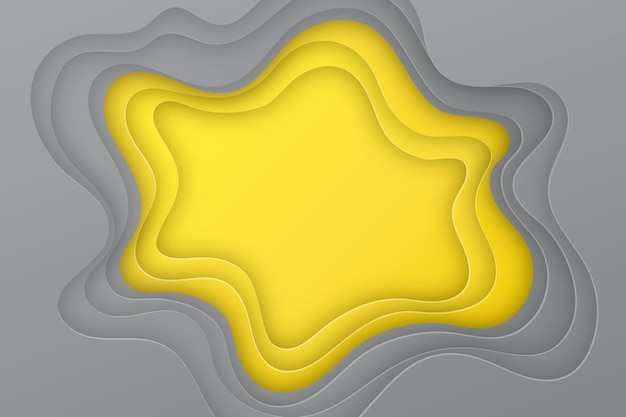 Yellow and gray paper style background wavy layers Free Vector