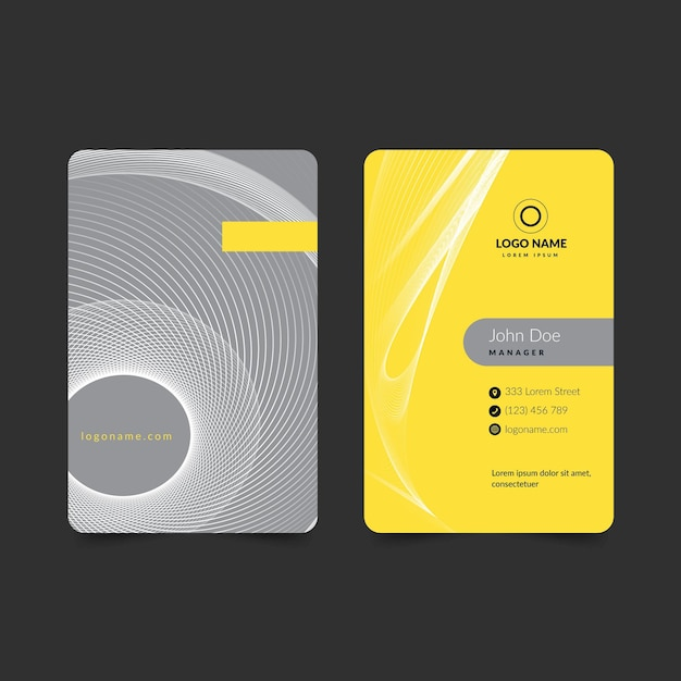 Yellow and gray vertical abstract business card Free Vector
