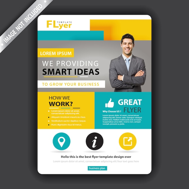 Yellow and green business flyer Free Vector
