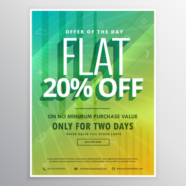Yellow and green poster with sun rays for discounts Free Vector