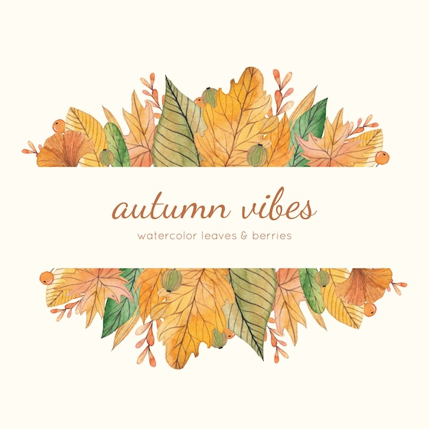 Yellow and green watercolor autumn frame Premium Vector