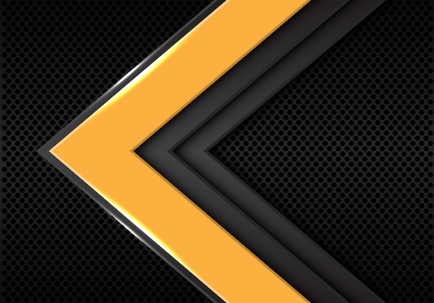 Yellow grey arrow direction on dark blank space background. Premium Vector