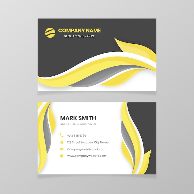Yellow and grey business card template Free Vector