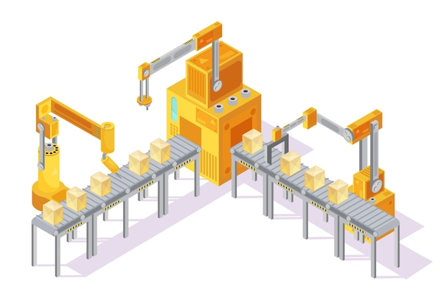 Yellow grey conveyor system with control panel, robotic hands and packaging on line isometric vector illustration Free Vector