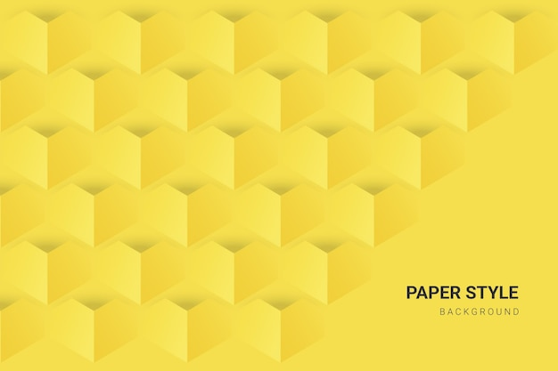 Yellow and grey in paper style wallpaper Premium Vector
