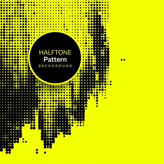 Yellow grunge background with halftone dots Free Vector