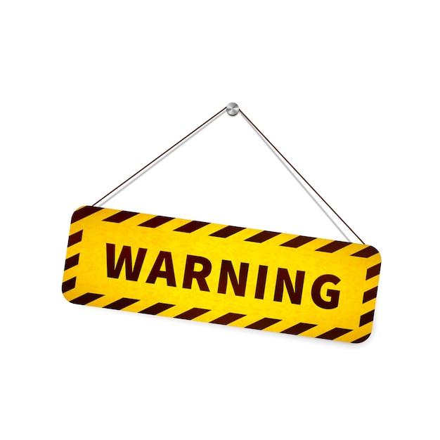 白のロープにぶら下がっている黄色のグランジ警告サイン Premiumベクター