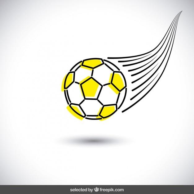 Yellow hand drawn soccer ball