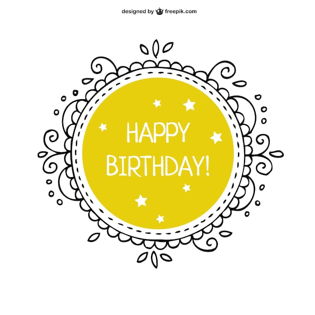 Yellow Happy Birthday card with ornamental frame Free Vector