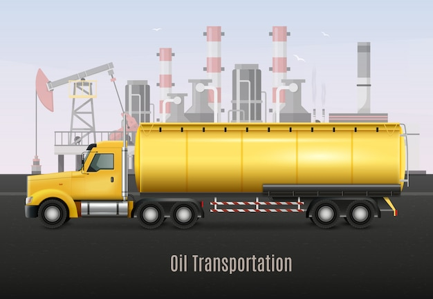 Yellow heavy truck with tank Free Vector