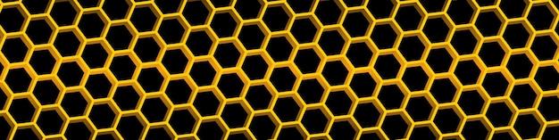 黄色のハニカムの背景。ハニカムシームレスパターン。幾何学的な六角形の背景。ベクトルイラスト Premiumベクター