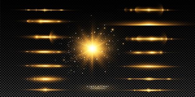 Набор желтых горизонтальных бликов. лазерные лучи, горизонтальные световые лучи. набор светящихся прозрачных световых эффектов, взрыв, блеск, искра, солнечная вспышка. Premium векторы