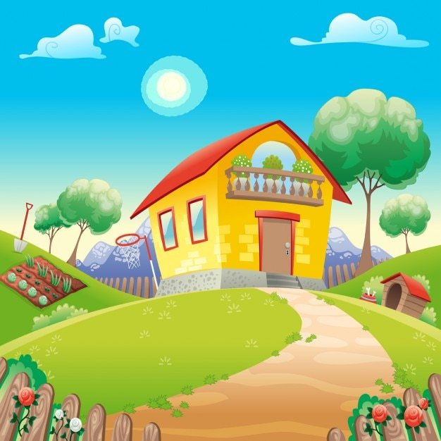 A yellow house Free Vector