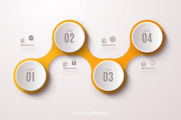 Yellow infographic steps flat design Free Vector