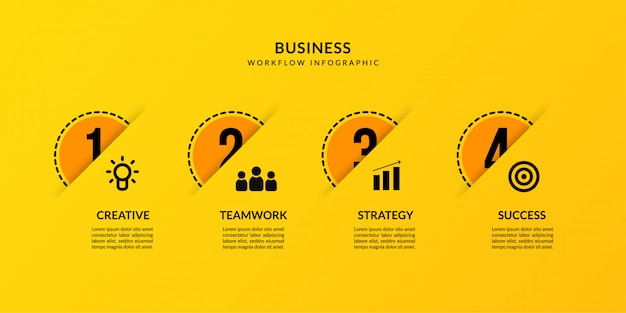 Yellow infographic with four optional, outline data communication for business report Premium Vector