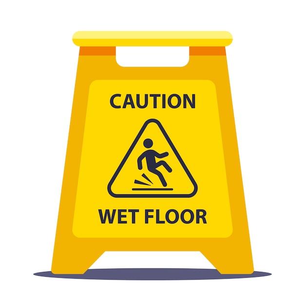 黄色の情報プレート注意滑りやすい床。学校で床を洗う。白い背景で隔離の平らなベクトルイラスト。 Premiumベクター