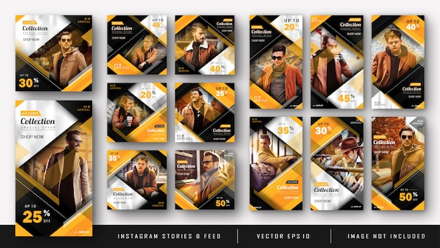 Yellow instagram kit bundle for fashion sale template Premium Vector