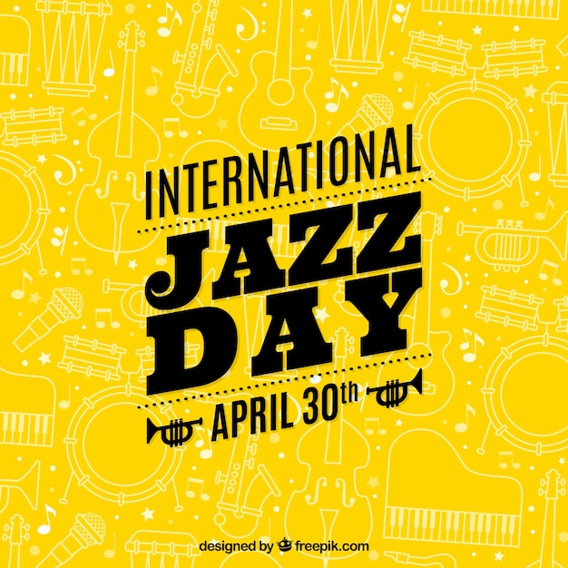 Yellow international jazz day background with sketches Free Vector