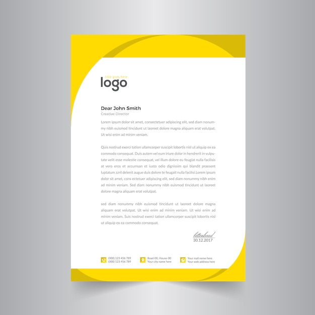 yellow letter head design template vector premium download. Black Bedroom Furniture Sets. Home Design Ideas