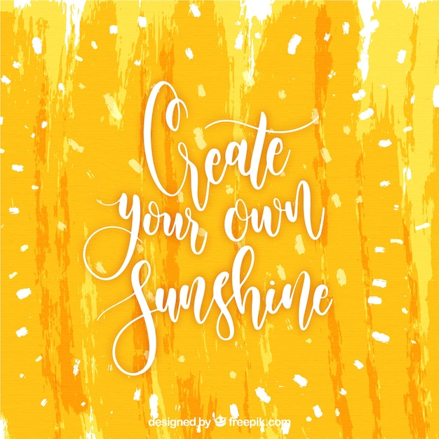 Yellow lettering and quote concept Free Vector
