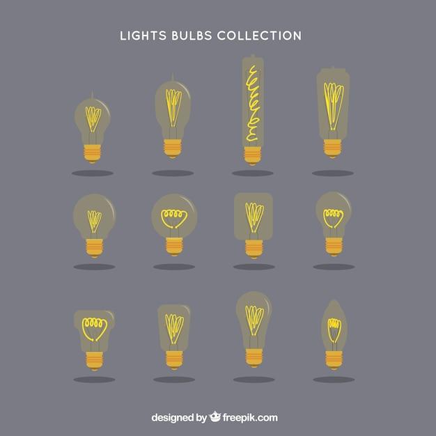 Yellow lightbulbs collection Free Vector