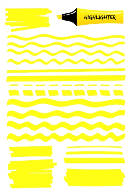 Yellow lines and scribbles with highlighter pen Premium Vector