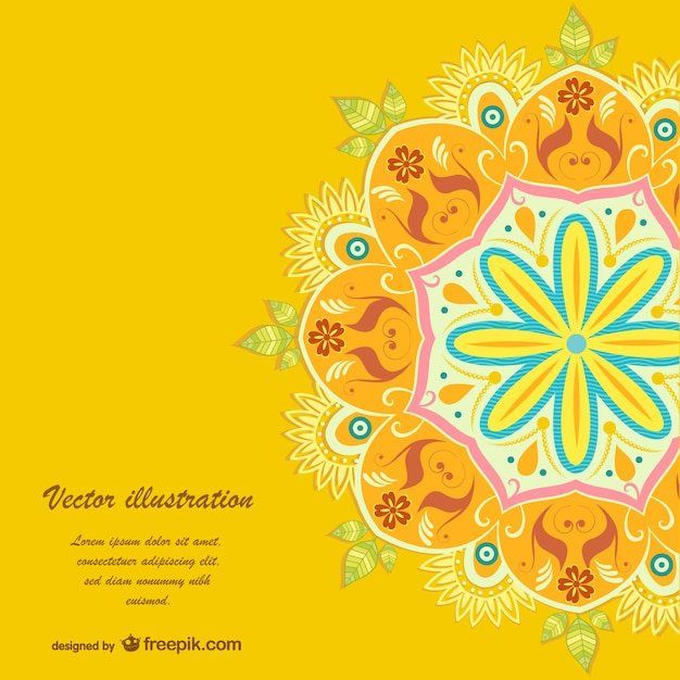 Yellow mandala background Free Vector