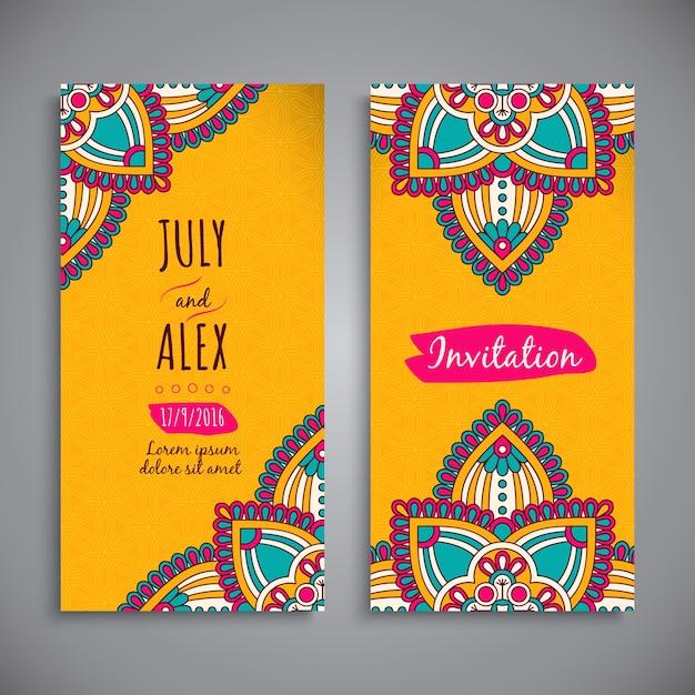 Yellow mandala style wedding invitation Free Vector