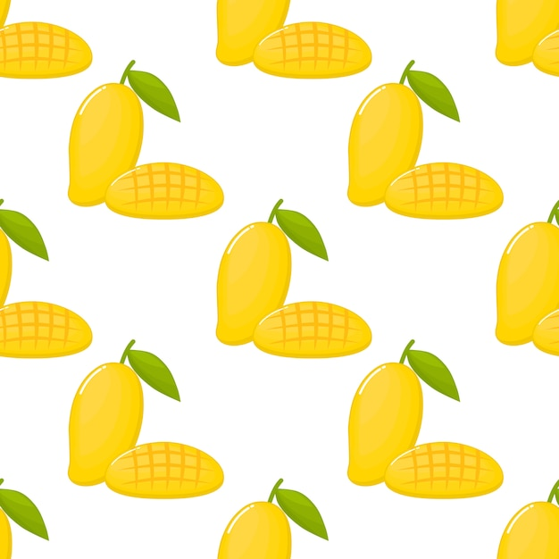 Yellow mango seamless pattern. fruit collection for juice packaging. Premium Vector