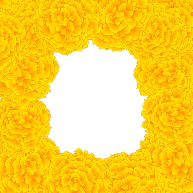 Yellow marigold border Premium Vector