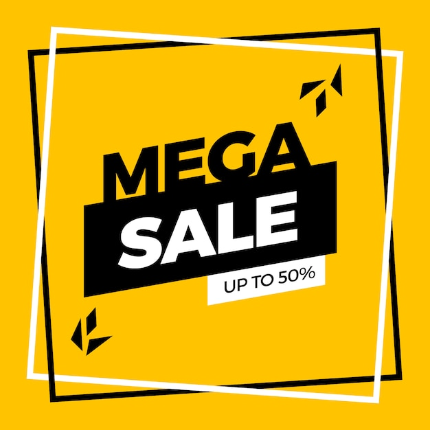 Yellow mega sale banner template design Free Vector