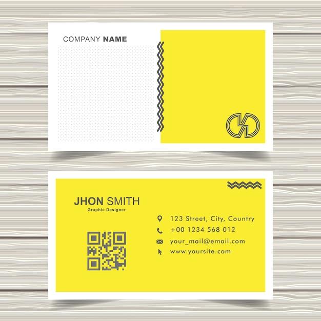 Yellow memphis business card design vector Premium Vector