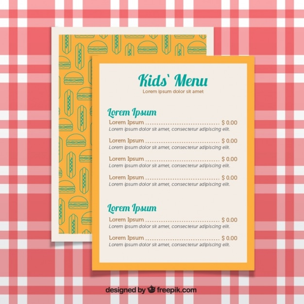 Yellow menu for kids with decorative burgers Free Vector