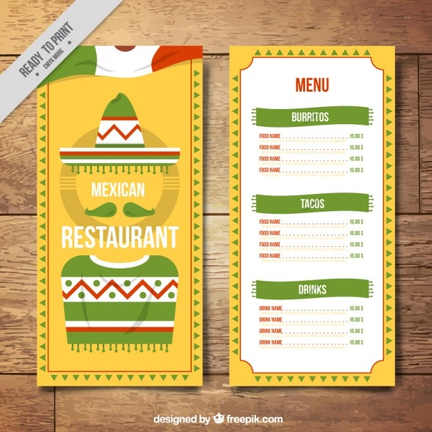 yellow menu template with mexican flag vector free download