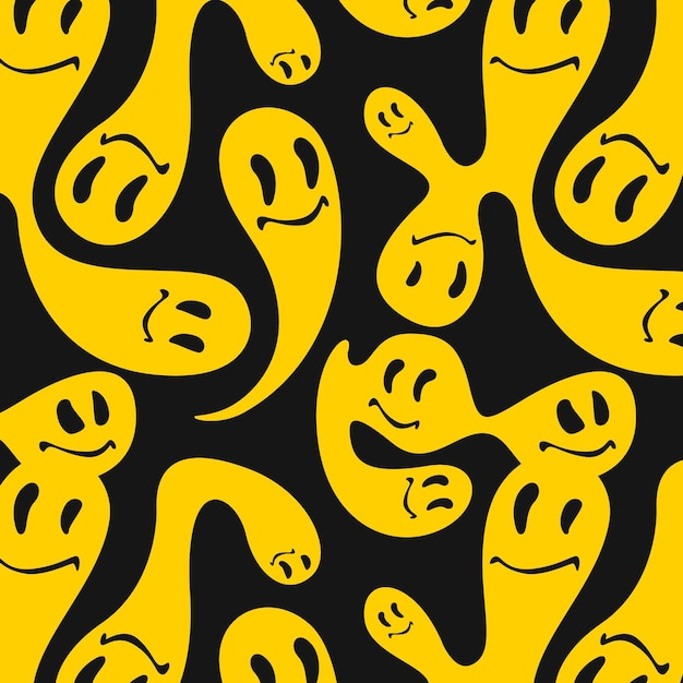 Yellow merged and distorted emoticon pattern template Free Vector