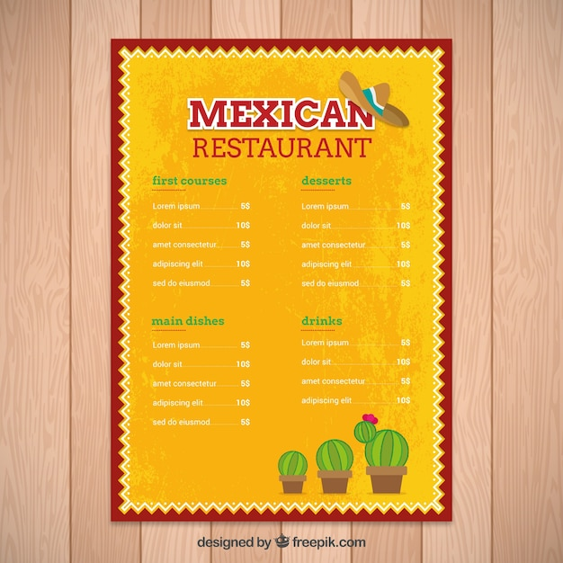 Yellow mexican menu template with cactus vector free for Free menu design templates