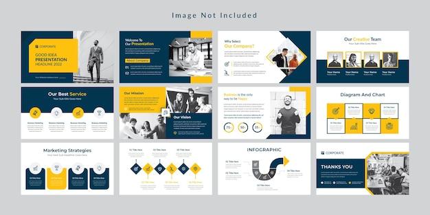노란색 최소한의 비즈니스 슬라이드 프리젠 테이션 템플릿 프리미엄 벡터