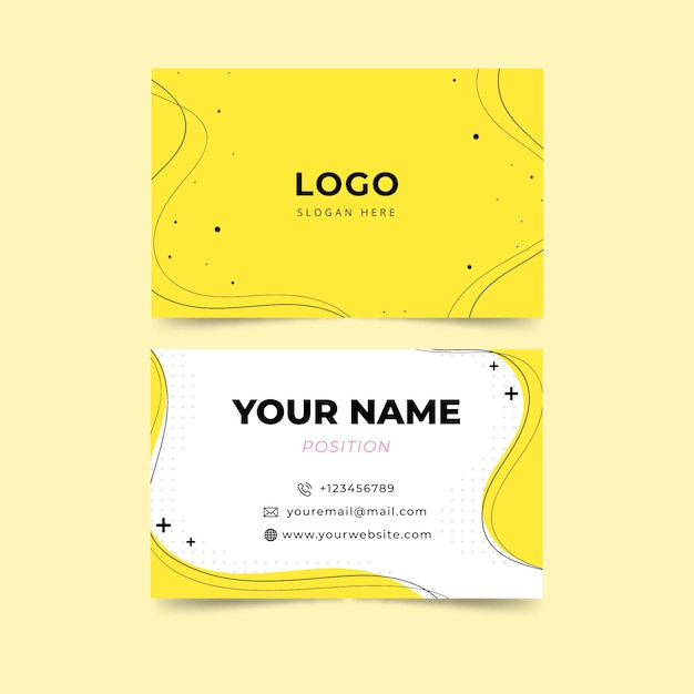 Yellow minimalist business card template Free Vector