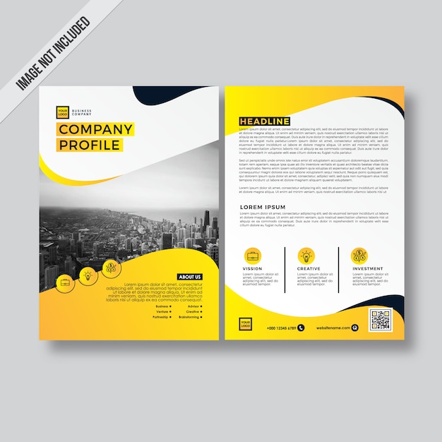 Business Profile Template | Yellow Modern Style Design Flyer Company Profile Template Vector