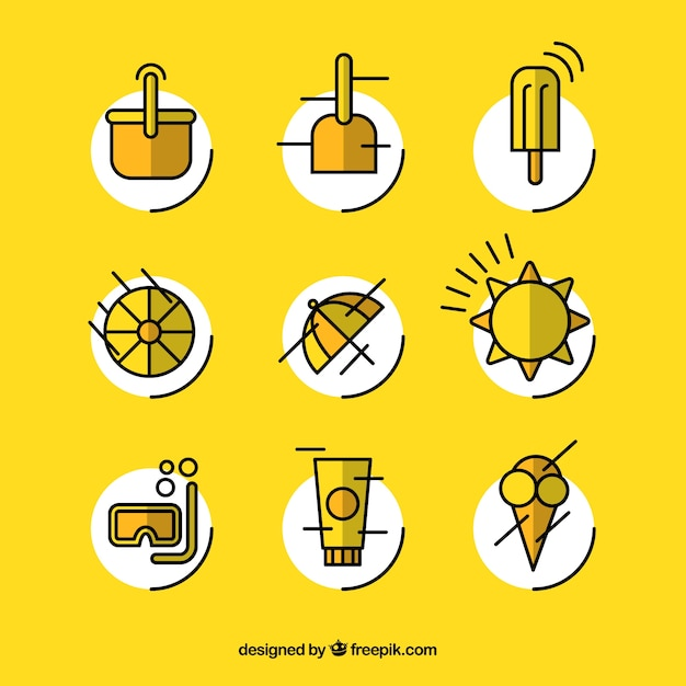 Yellow modern summer icons