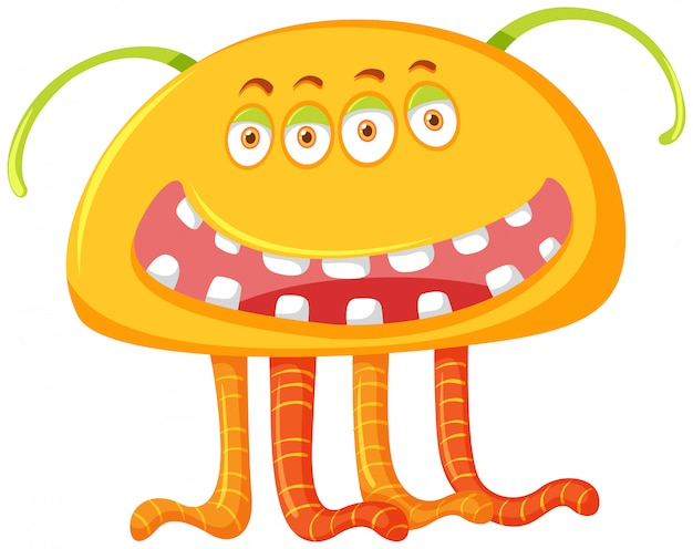 A yellow monster characters Premium Vector