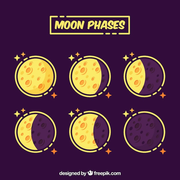 Yellow moon phases Free Vector