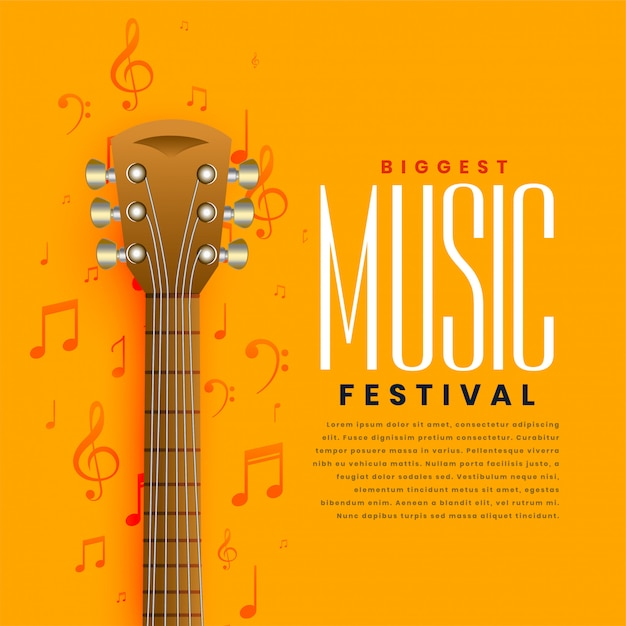 Yellow music guitar poster flyer background Free Vector