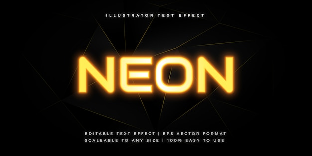 Yellow neon light text style font effect Premium Vector