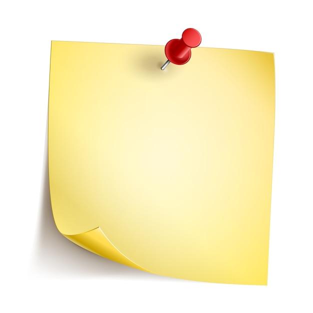 빨간 핀 노란색 메모 용지 무료 벡터