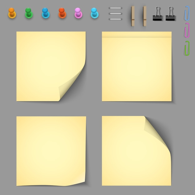 Yellow notice papers with elements for attaching paper Premium Vector