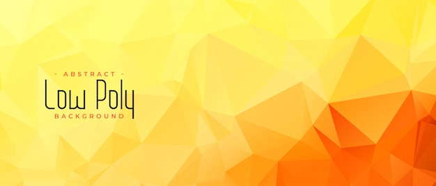 Yellow orange color low poly abstract banner design Free Vector