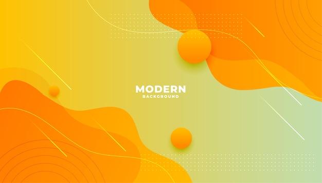 黄色オレンジ色の流体グラデーションスタイルのモダンな背景デザイン 無料ベクター