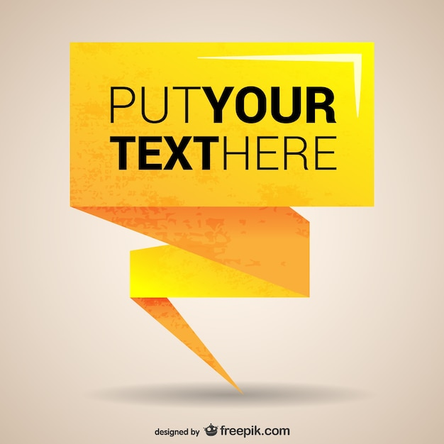 Yellow origami banner template Free Vector